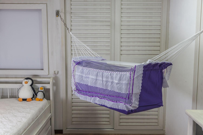 Rede de Dormir Berço infantil para Bebê Lilás