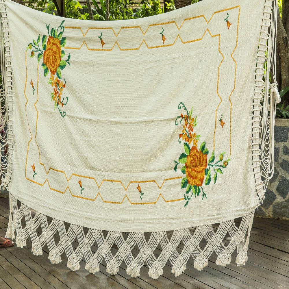 Rede de Dormir Casal bordada Ponto Cruz flores Laranja