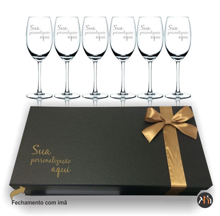 Conjunto Luxo 6 taças de cristal para vinho 350ml personalizadas (6.56112P)
