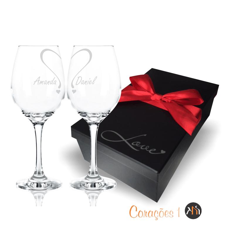 Conjunto LOVE 2 taças de  vidro 385ml para vinho personalizadas