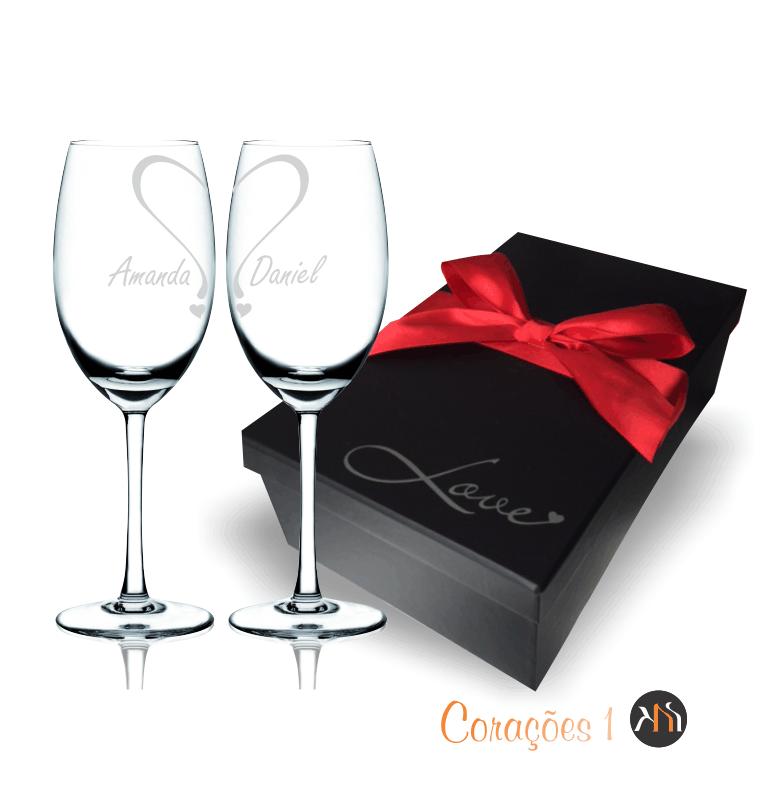 Conjunto LOVE  2 taças cristal 350ml para vinho Personalizadas