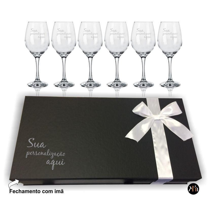 Conjunto Barone 6 taças de vidro 385ml para vinho personalizadas