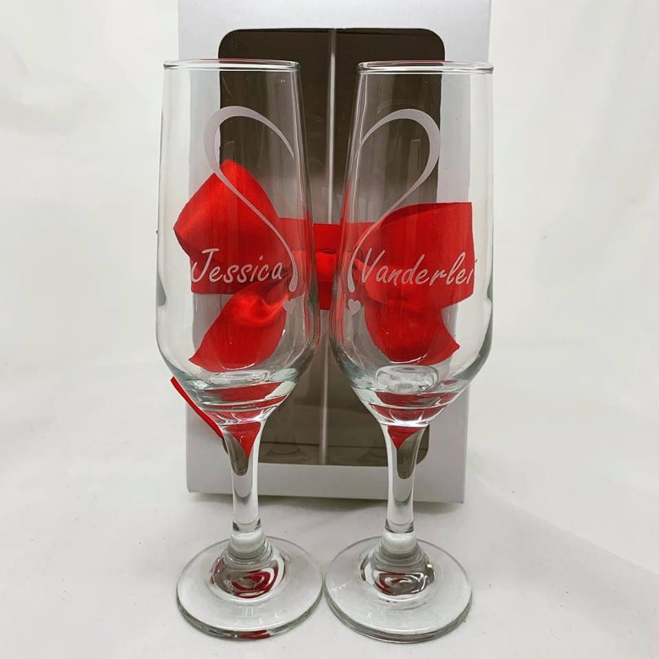 Conjunto Bistro 2 taças de vidro 184ml para espumante Personalizadas