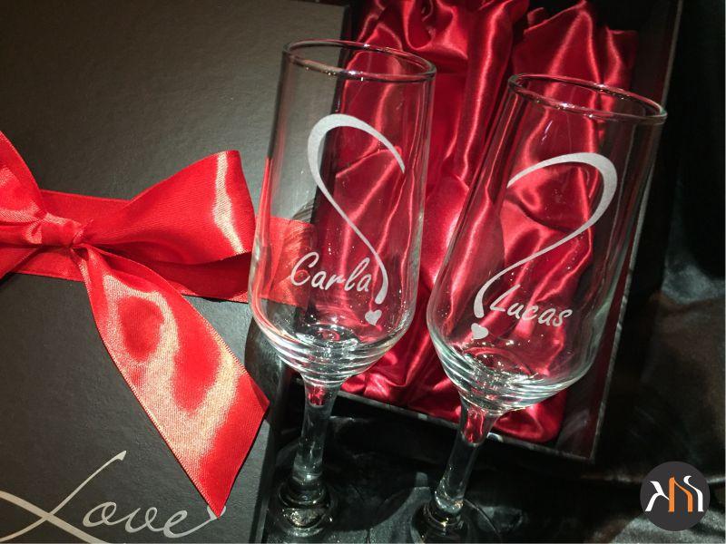 Conjunto Bistro Luxo 2 taças vidro 184ml para espumante Personalizadas