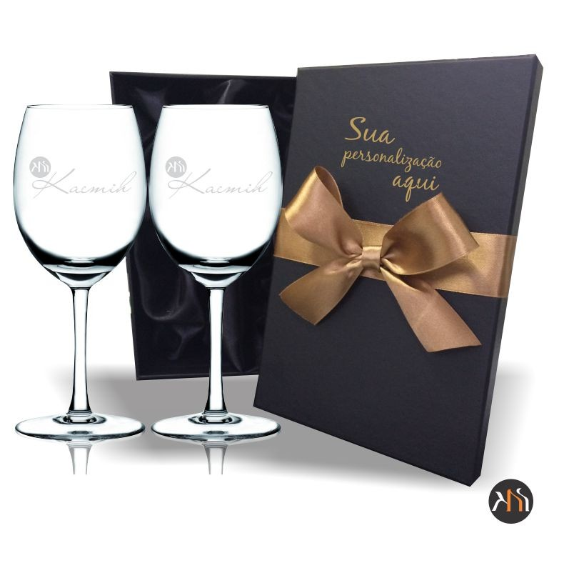 Conjunto Gastro Luxo 2 taças cristal 580ml para vinho Personalizadas