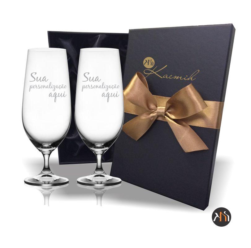 Conjunto Luxo 2 taças cristal p/ cerveja 380ml Personalizadas (2.57311DP)