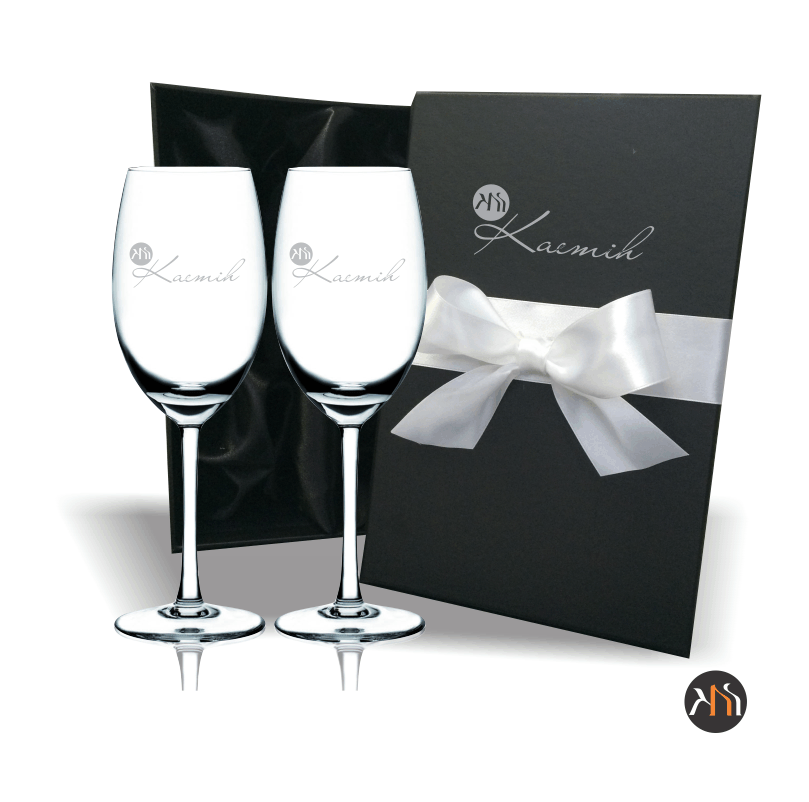 Conjunto luxo 2 taças cristal p/ vinho 350ml Personalizadas