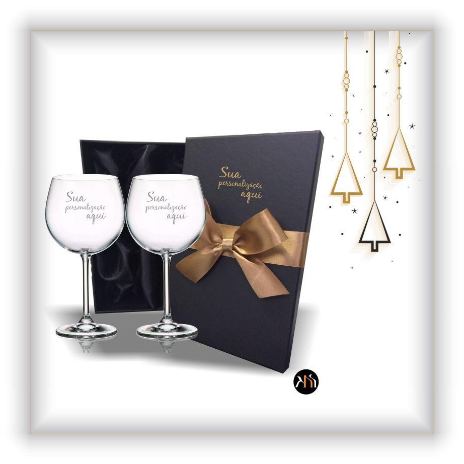Conjunto luxo gin - 2 Taças de cristal - Natal