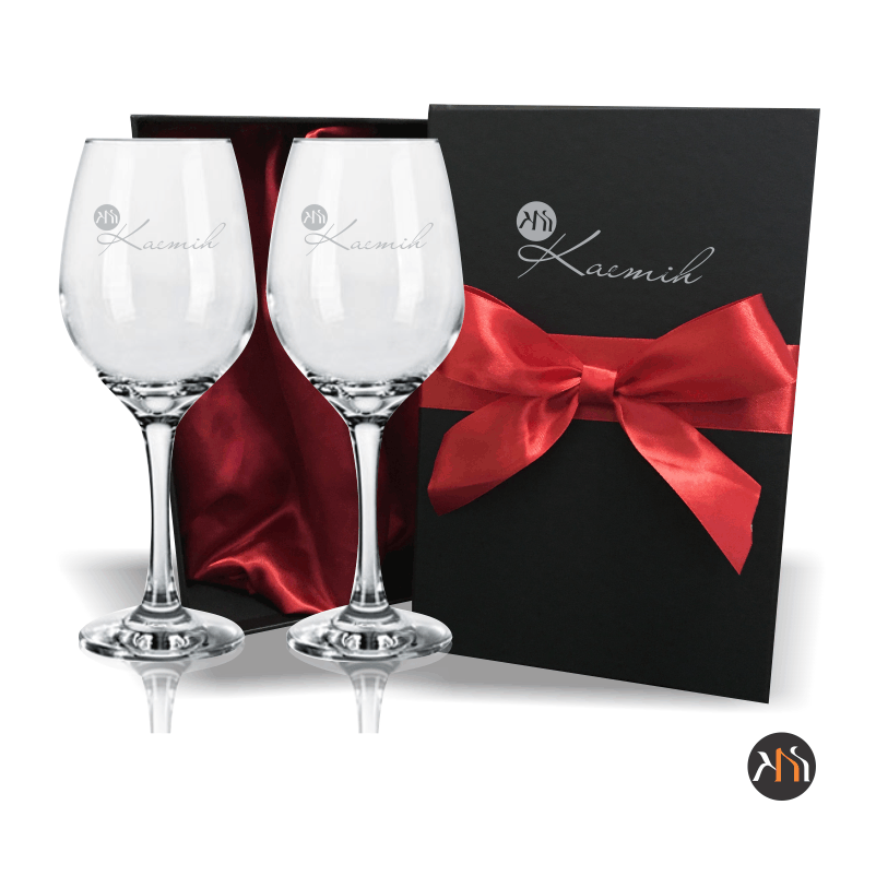 Conjunto Barone Luxo 2 taças vidro para vinho Personalizadas