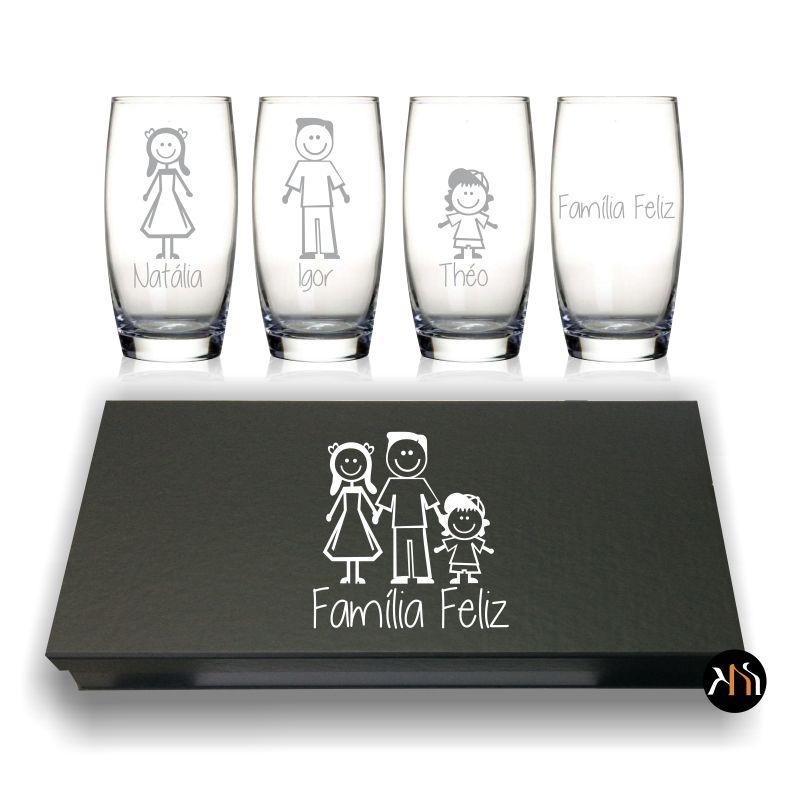 Conjunto de 4 copos Família Feliz