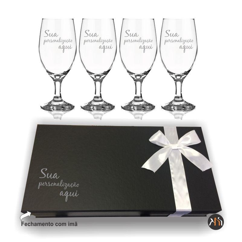 Conjunto de 4 taças de vidro para cerveja personalizadas (4.7728P)
