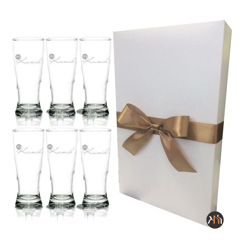 Conjunto de 6 copos de vidro p/ cerveja 300ml Personalizados (6.32830H)