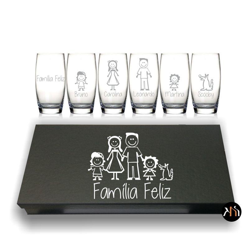 Conjunto de 6 copos Família Feliz