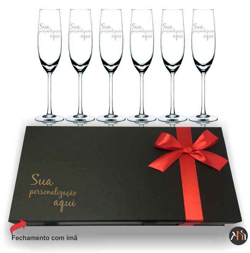 Conjunto Gastro luxo 6 taças cristal 220ml p/ espumante Personalizadas
