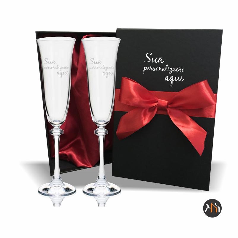 Conjunto Asio 2 taças de cristal para espumante personalizada