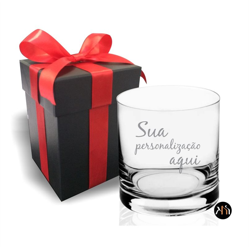 Copo de cristal para whisky personalizado