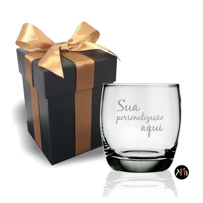 Copo de vidro para whisky personalizado