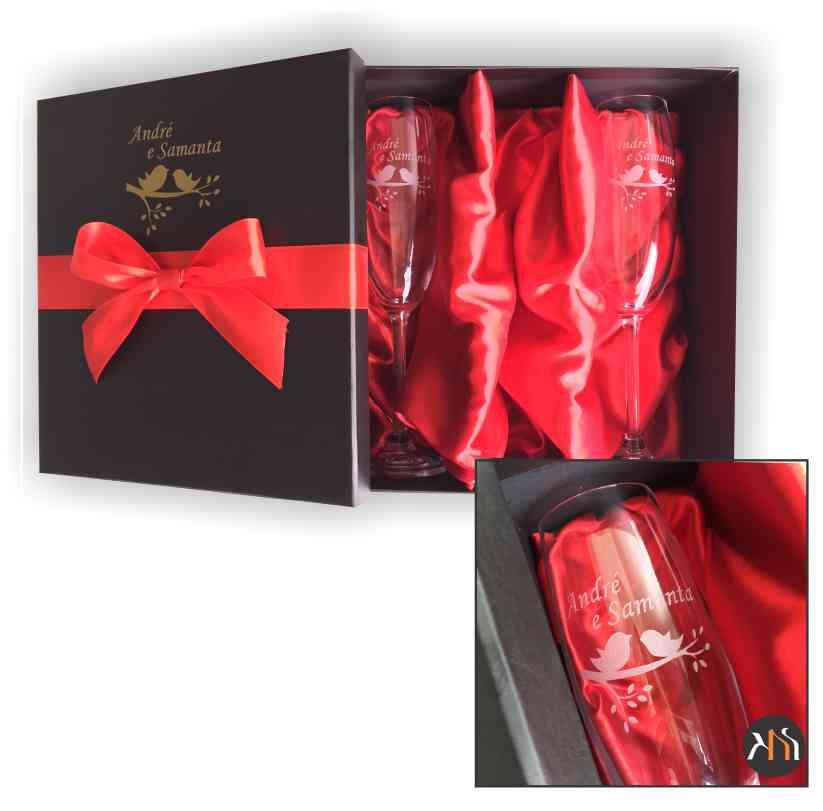 Kit Gastro Luxo 2 taças cristal p/ espumante Personalizadas