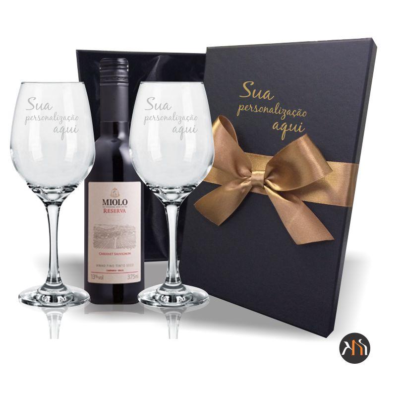 Kit 2 taças vidro  385ml p/ vinho Personalizadas