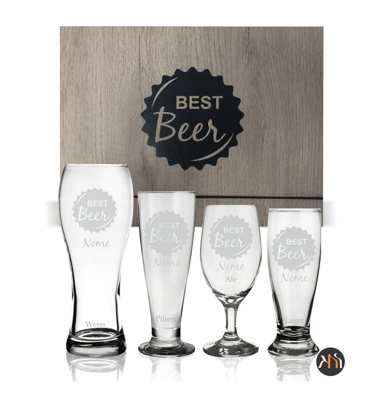 Kit Best Beer 4 copos de vidro p/ cerveja personalizados