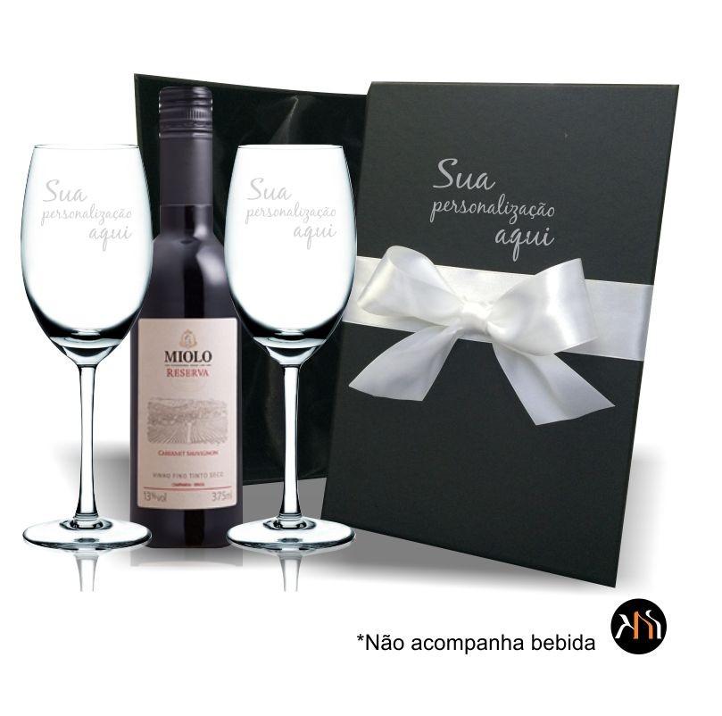 Kit 2 taças cristal 350ml p/ vinho Personalizadas