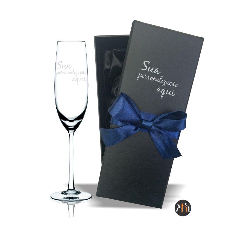 Taça Gastro cristal  para espumante Personalizada com caixa luxo