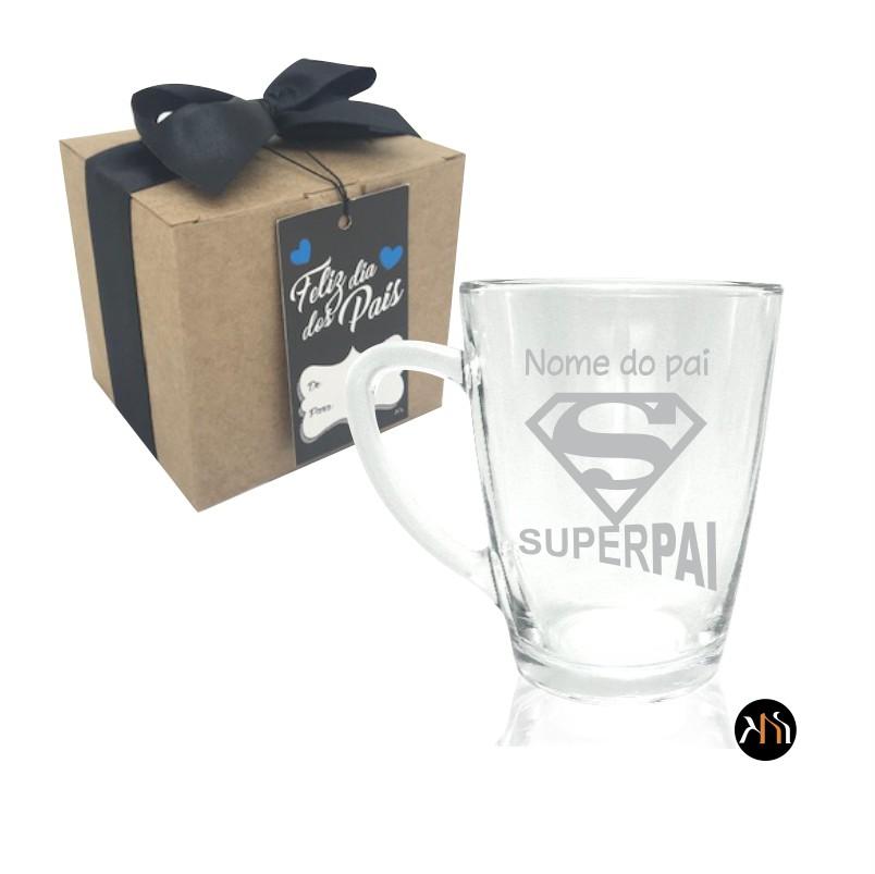 Xícara de vidro para chá ou café - Dia dos Pais