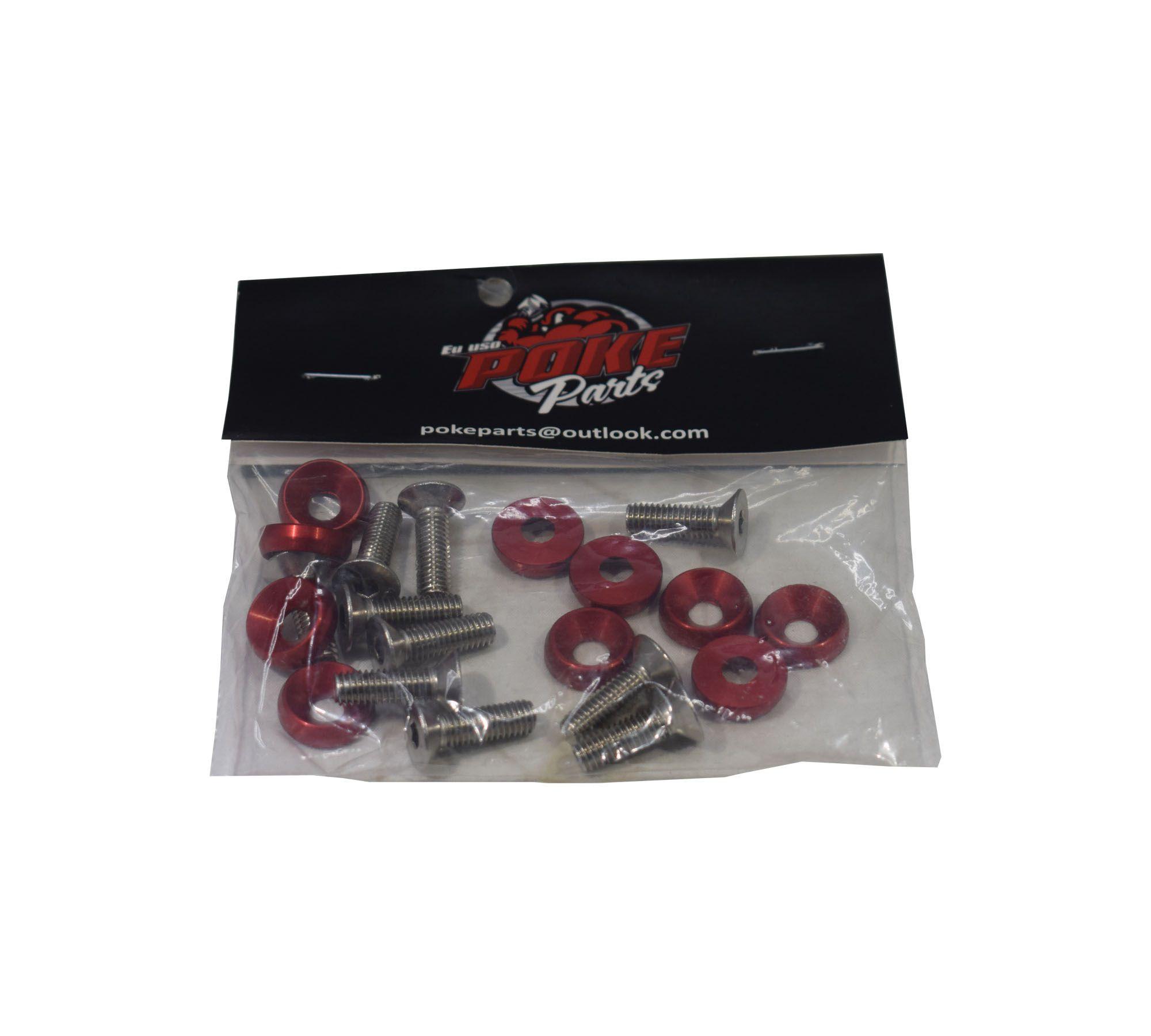 kit arruela anodizado com parafusos