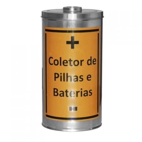 Coletor de Pilhas e Baterias em Inox 25L �Ø27 X 50cm