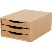 Caixa Arquivo Gaveteiro em MDF com 3 Gavetas Cor Natural