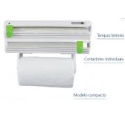 Porta-Rolos Roll-Up 3x1 Branco com Puxador Verde