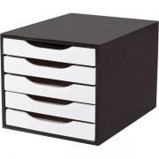 Caixa Arquivo Gaveteiro em MDF Black Piano com 5 Gavetas Brancas Souza Referência 3339