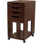 Caixa Arquivo Gaveteiro Easy Box em MDF com Base com rodízios e 4 Gavetas - Tabaco - Souza