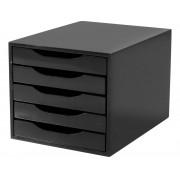 Caixa Arquivo Gaveteiro em MDF Black Piano com 5 Gavetas Black
