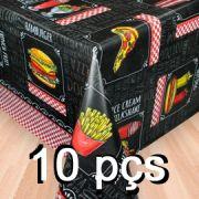 Conj 10 Toalha de mesa plástica Térmica 1,38X2,00 Estampa Lanchonete