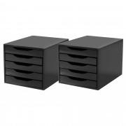CONJ 2 Caixa Arquivo em Black Piano com 5 Gavetas BLACK
