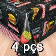 Conj 4 Toalha de mesa plástica Térmica 1,38X1,38 Estampa Lanchonete