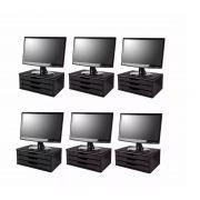 Conj. 6 Suportes para Monitor em MDF Black Piano com 3 Gavetas Black