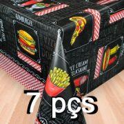 Conj 7 Toalha de mesa plástica Térmica 1,38X1,38 Estampa Lanchonete