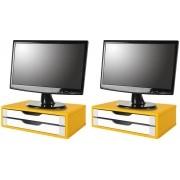 Conj com 2 Suportes para Monitor em MDF Amarelo com 2 Gavetas