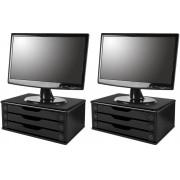 Conj com 2 Suportes para Monitor em MDF Black Piano com 3 Gavetas