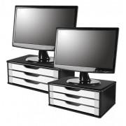 Conj com 2 Suportes para Monitor em MDF BLACK Piano com 3 Gavetas BRANCAS
