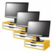 Conj com 3 Suportes Para Monitor em MDF Amarelo com 2 Gavetas Brancas