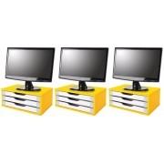 Conj com 3 Suportes para Monitor em MDF Amarelo com 3 Gavetas Brancas