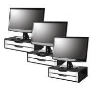 Conj com 3 Suportes para Monitor em MDF Black Piano com 2 Gavetas Brancas Souza Referência 3348