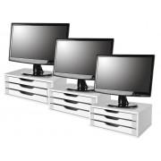 Conj com 3 Suportes para Monitor em MDF Branco com 3 Gavetas Brancas