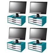 Conj com 4 Suportes para Monitor em MDF Azulcom 3 Gavetas Brancas