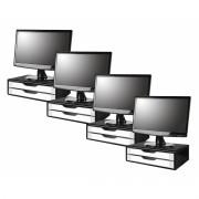 Conj com 4 Suportes Para Monitor em MDF BLACK Piano com 2 Gavetas BRANCAS