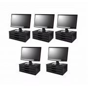 Conj com 5 Suportes para Monitor em MDF Black Piano com 3 Gavetas Black