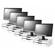 Conj com 5 Suportes Para Monitor em MDF Branco com 2 Gavetas Brancas